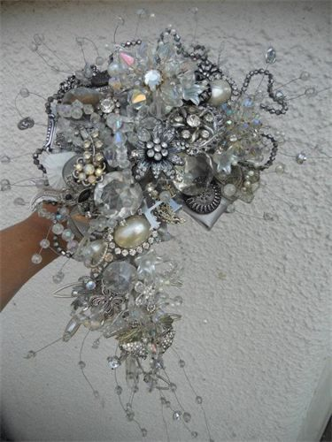 www.muscariwhites.co.uk stunning clear stone semi crescent bouquet created by Michele knibbs