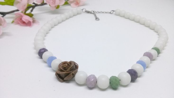 Excited to share the latest addition to my #etsy shop: Colorful necklace, romantic, summer, acrylic rose https://etsy.me/2qEfEoP #jewelry #necklace #yes #rose #green #blue #white #purple #acrylicrose