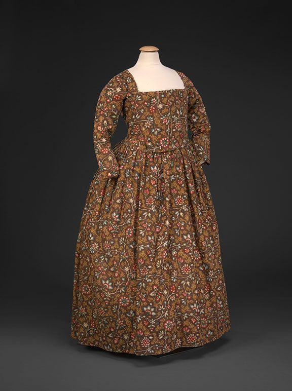 Block Printed Round Gown, 1780s. More affordable than silk but an expensive cotton requiring multiple blocks and hand-painting of some colors. Worn in CT, MA, VT by Hannah Chaplin Avery (CT-born wife of a minister with parishes in MA and VT). DAR Museum exhibit agreeabletyrant.dar.org