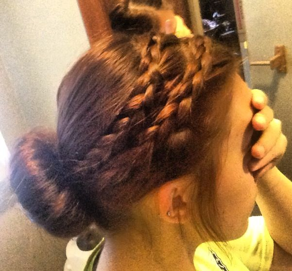 Double braid into a low sock bun