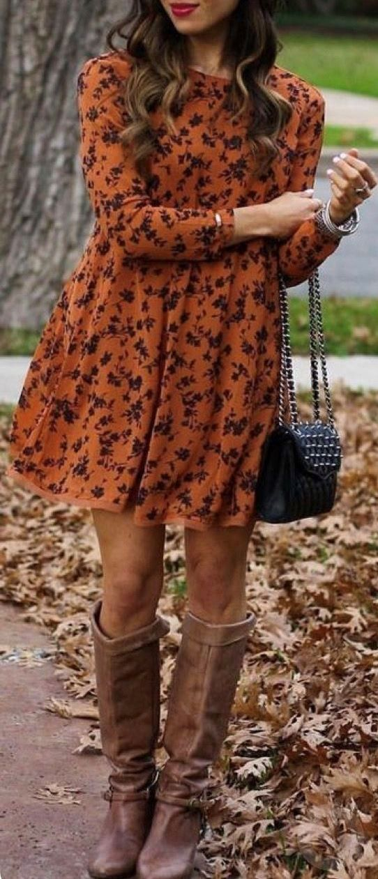 trendy fall outfit | printed dress + bag + brown high boots