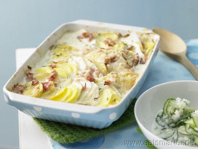 Kartoffel-Kohlrabi-Auflauf Familienessen (2 Erw. und 2 Kinder) - smarter - Kalorien: 441 Kcal | Zeit: 70 min.