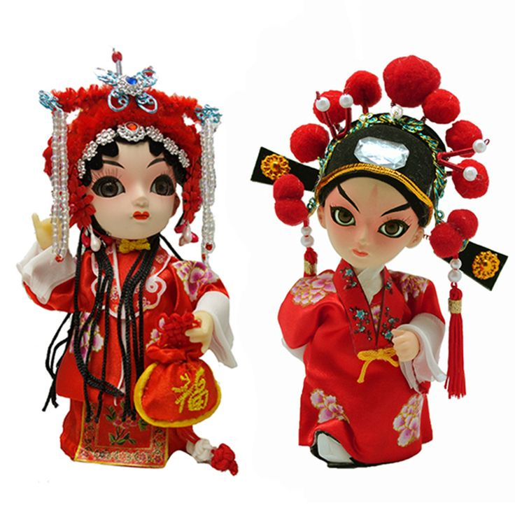 """In china, the red color is the symbol of love and happiness, thus this beautiful set of bride and bridegroom folk dolls in traditional wedding gown is an appropriate present for wedding couples. Inspired by Beijing opera,the bride wears decorative headpiece and carrying a pouch with Chinese character""""""""Fu"""""""" while the groom wears decorated headgear. #gift #coupletoys #red #cute"""