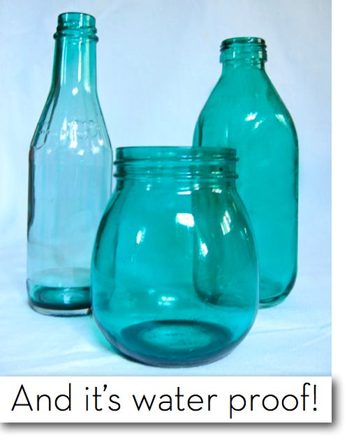 Remember the Mod Podge + food coloring technique for painting clear glass? That was cool and all, but I spotted another method using Vitrail glass paint and acetone (nail polish remover) that allows the bottles and jars to be used as actual vases, as the finish is waterproof! This treatment provides for more depth of color as well.