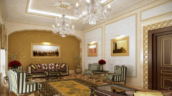 Luxurious Villa Qatar gorgeous marble columns, gold chandelier couches