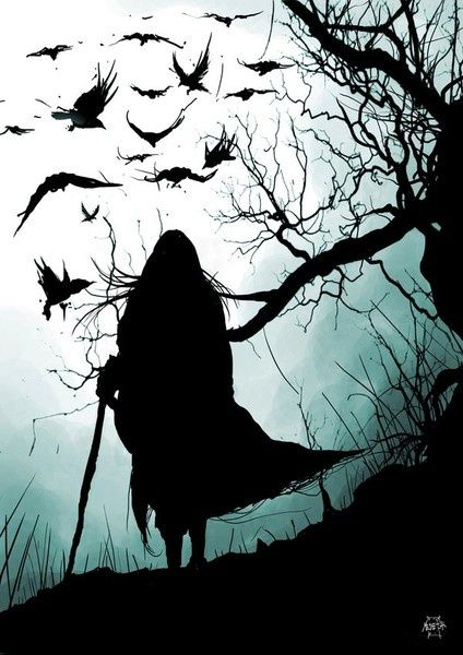 "In Irish mythology, the Morrigan (""phantom queen"") was a war goddess who would sometimes take the form of a crow.  She would fly over battlefields like this, inspiring fear in the hearts of those below."