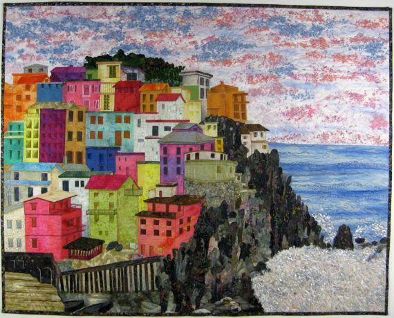 Arte tejido Manarola Italia confeti apliques colgante de pared