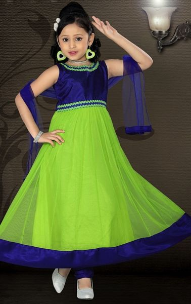 Picture of Melodic Lime Green and Royal Blue Color Kids Anarkali Suit