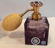 Rare Vintage Hand Cut Crystal Amethyst Perfume Atomizer I.W. Rice & Co. Unused