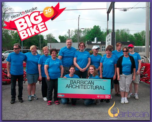 Barbican staff ride to raise money for the Big Bike campaign, a fundraiser for the Heart & Stroke Foundation.