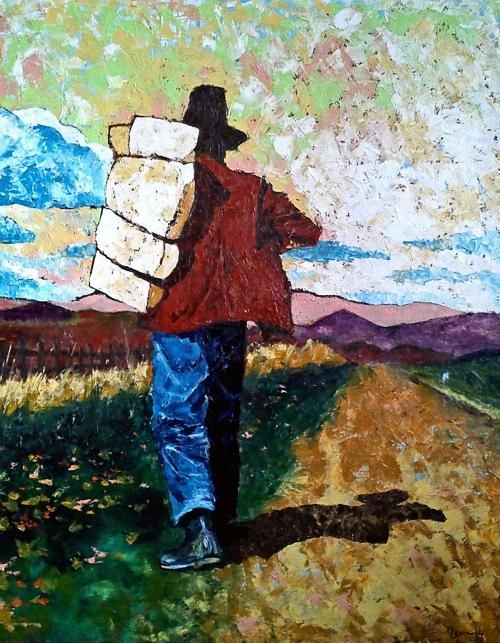 Veen -Way to work Oil on canvas 90x70 by Veen
