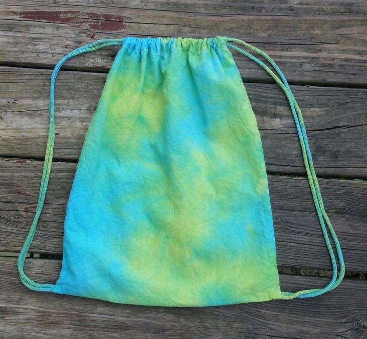 Green backpack, tie dye backpack, drawstring backpack, tie dye drawstring bag, blue and green bag, unisex bag, backpack purse, yoga bag, bag by SerenityScarvesNStuf on Etsy