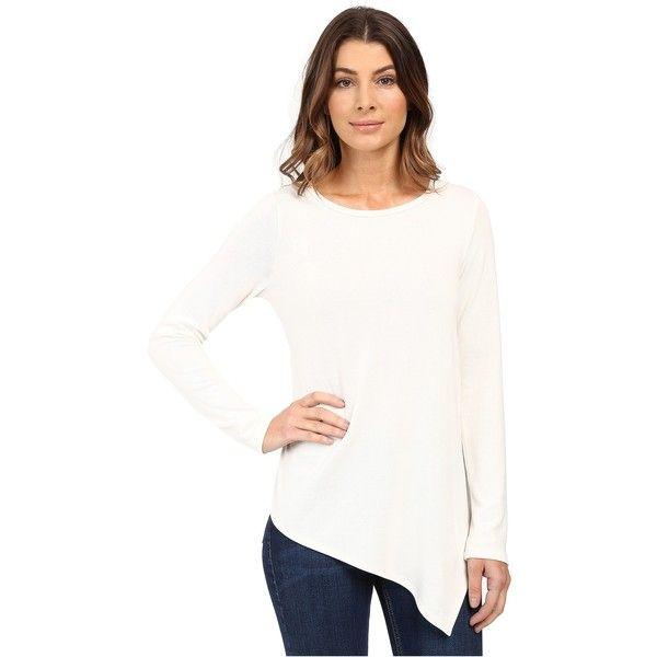 Karen Kane Long Sleeve Angled Hem Top (Cream) ($48) ❤ liked on Polyvore featuring tops, beige, long sleeve tops, white asymmetrical top, white long sleeve top, oversized white top and oversized tops