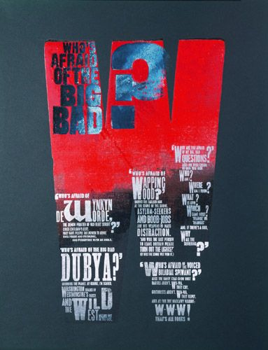 Alan Kitching Big Bad W 2004 Letter Press Print Edition size: 12 Image and paper size: 61 x 42.5cm