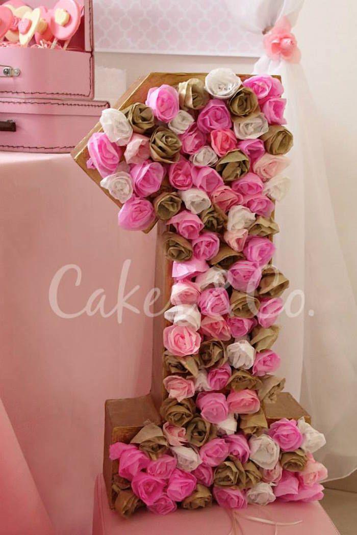 Pink & Gold Princess 1st Birthday Party via Kara's Party Ideas