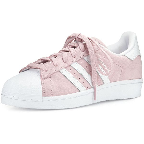 adidas Superstar Original Fashion Sneaker (£70) ❤ liked on Polyvore featuring shoes, sneakers, lace up shoes, white trainers, pink shoes, low profile sneakers and leather sneakers