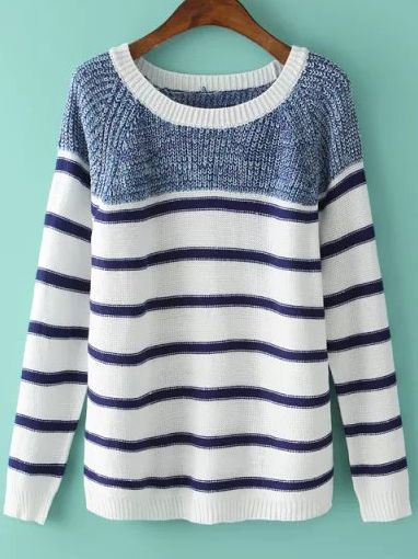 Shop Blue White Round Neck Striped Knit Sweater online. SheIn offers Blue White Round Neck Striped Knit Sweater & more to fit your fashionable needs.