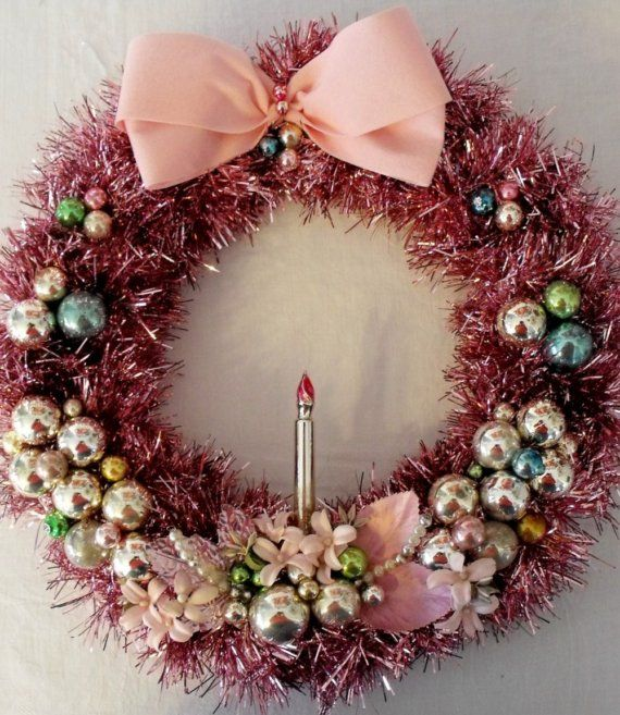 Pink Tinsel Wreath With Vintage Ornaments And Millinery Shabby Pink Christmas Wreaths Christmas Wreaths Christmas
