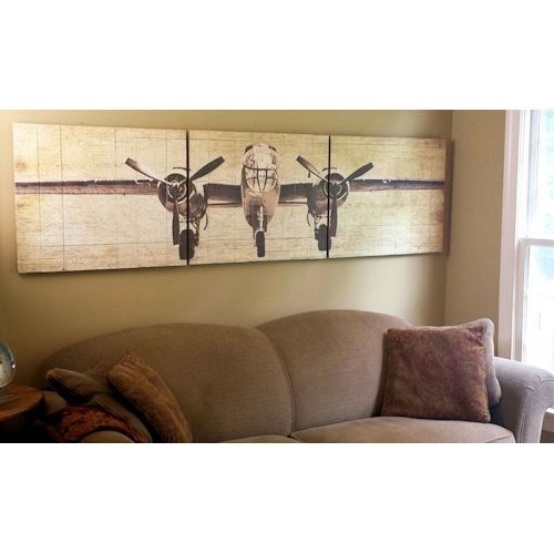 Vintage Aviation Wall Decor : Bomber plane wooden triptych wall art nursery kid s room