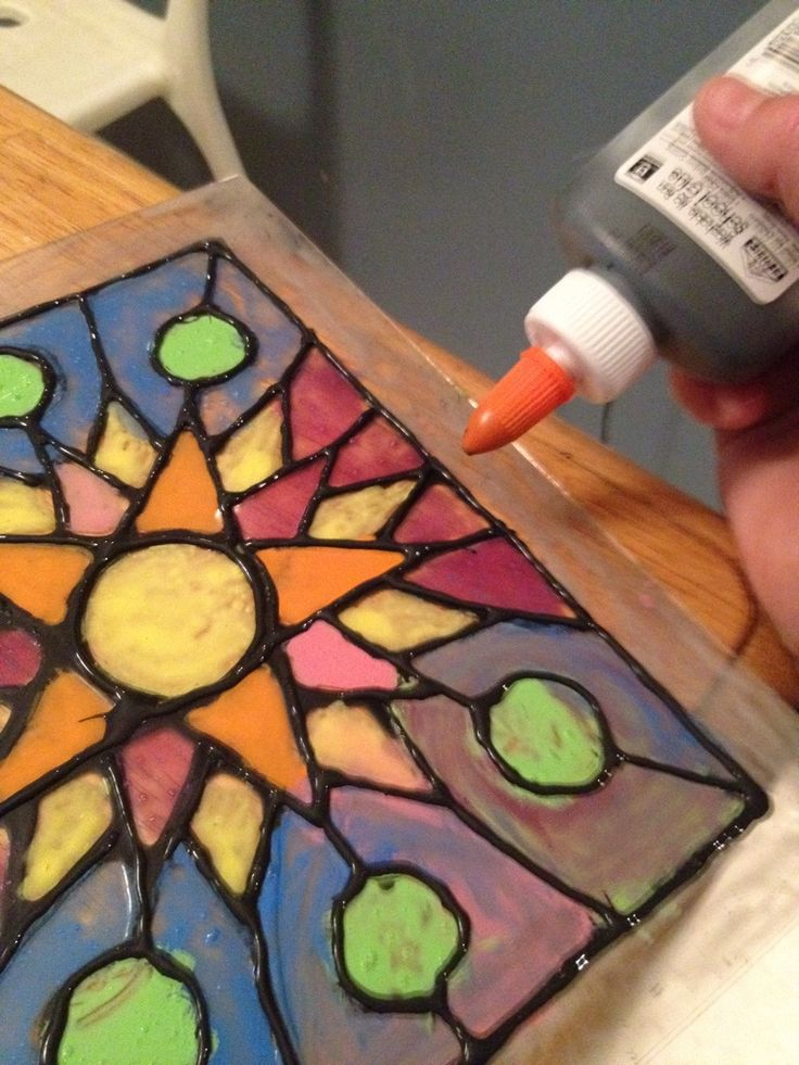 Faux Stained Glass use transparencies, paint with paint mixed with mod podge.