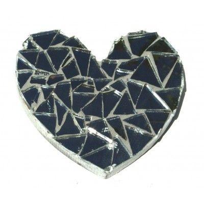 Heart shaped mirror mosaic artwork