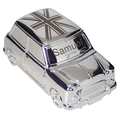 Personalised present idea engraved union jack austin mini car piggy bank vintage diecast car - Engraved silver piggy bank ...