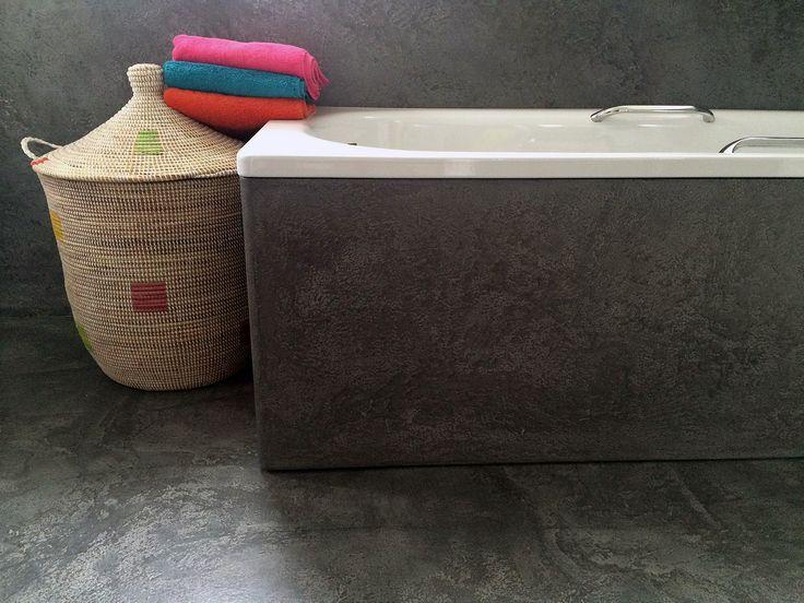 Mircocement bathroom and bath panel in Basalt