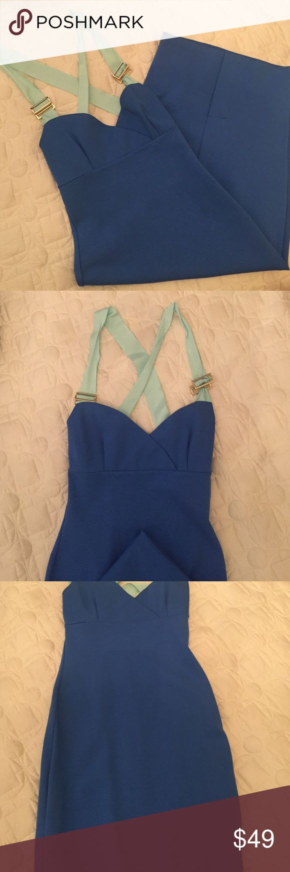 Ted baked blue bodycon dress This sexy dress is perfect for spring! It has a criss cross back with light blue fabric straps that are adjustable. Ted Baker Dresses Midi