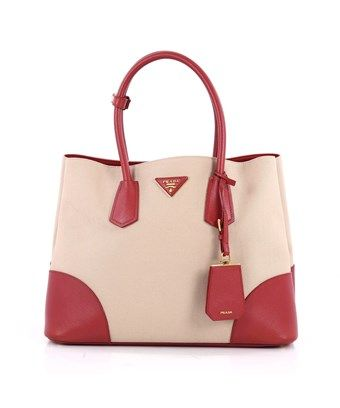756520aee763 PRADA PRE-OWNED  CUIR DOUBLE TOTE CANVAS AND SAFFIANO LEATHER MEDIUM.  prada   bags  leather  hand bags  canvas  tote