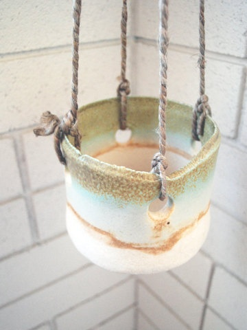 green hanging planter by twpottery on Etsy, $65.00