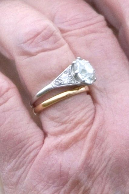 Queen Elizabeth II-- engagement and wedding ring. The royal family use rose gold for wedding rings,