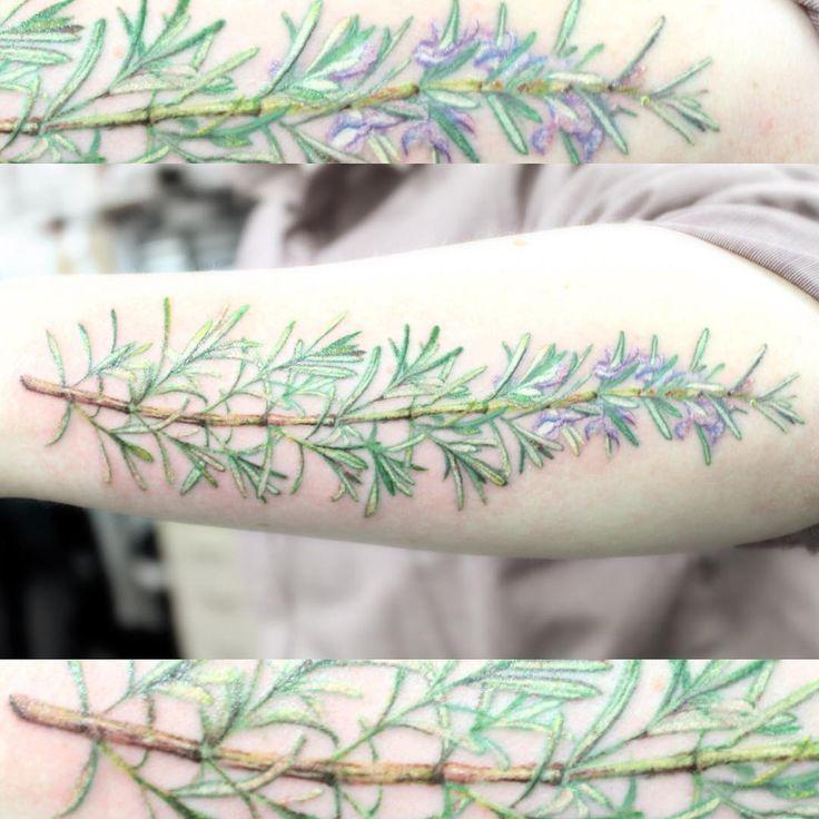 """Cool Rosemary on the forearm #rosemarytattoo #herbtattoo #flowertattoo #tattoo #flower #missmegs #missmeggybee #colourtattoo #alchemytattoo…"""