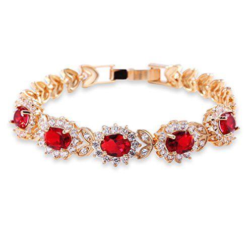 GULICX Elegant Edle 5 Oval Rote Kristall Zirkonia CZ Tennisarmband Gold-Ton Rubin Farbe Kristall Kette Armband