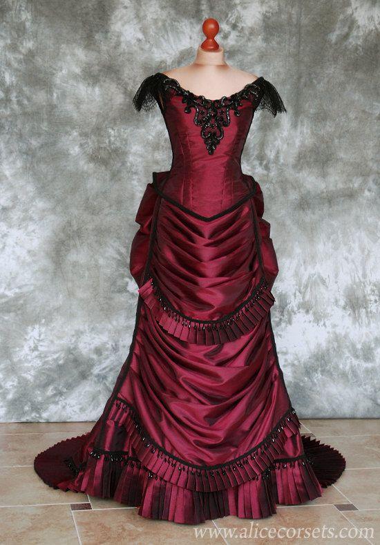 Victorian Steampunk Gothic Bustle Dress with Train  Vampire