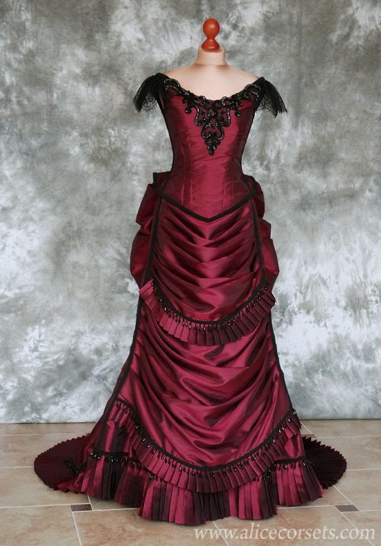 Gothic victorian bustle dress is made from faux silk dupioni with beautiful beaded embroidery appliques and trims. This listing is for 2 pieces set