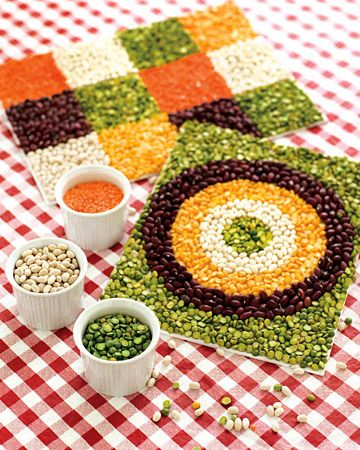 Beans Mosaic-  Kids can create simple, but beautiful mosaics by making geometric designs, a still life, or even a portrait using dried beans.