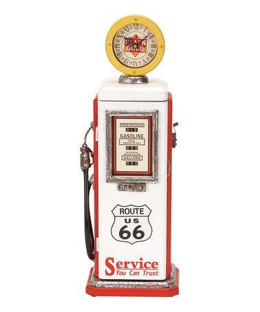 'Route 66' Wood Gas Pump Clock by UMA Enterprises on #zulily