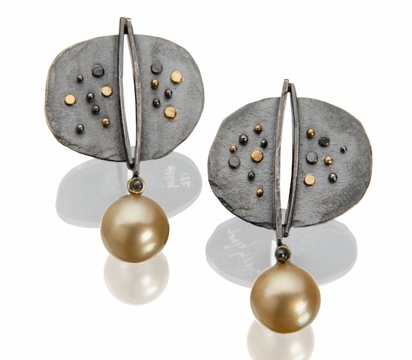 Rio earrings: golden Southsea pearls suspended from oxidized silver tops, dotted in 18k gold.