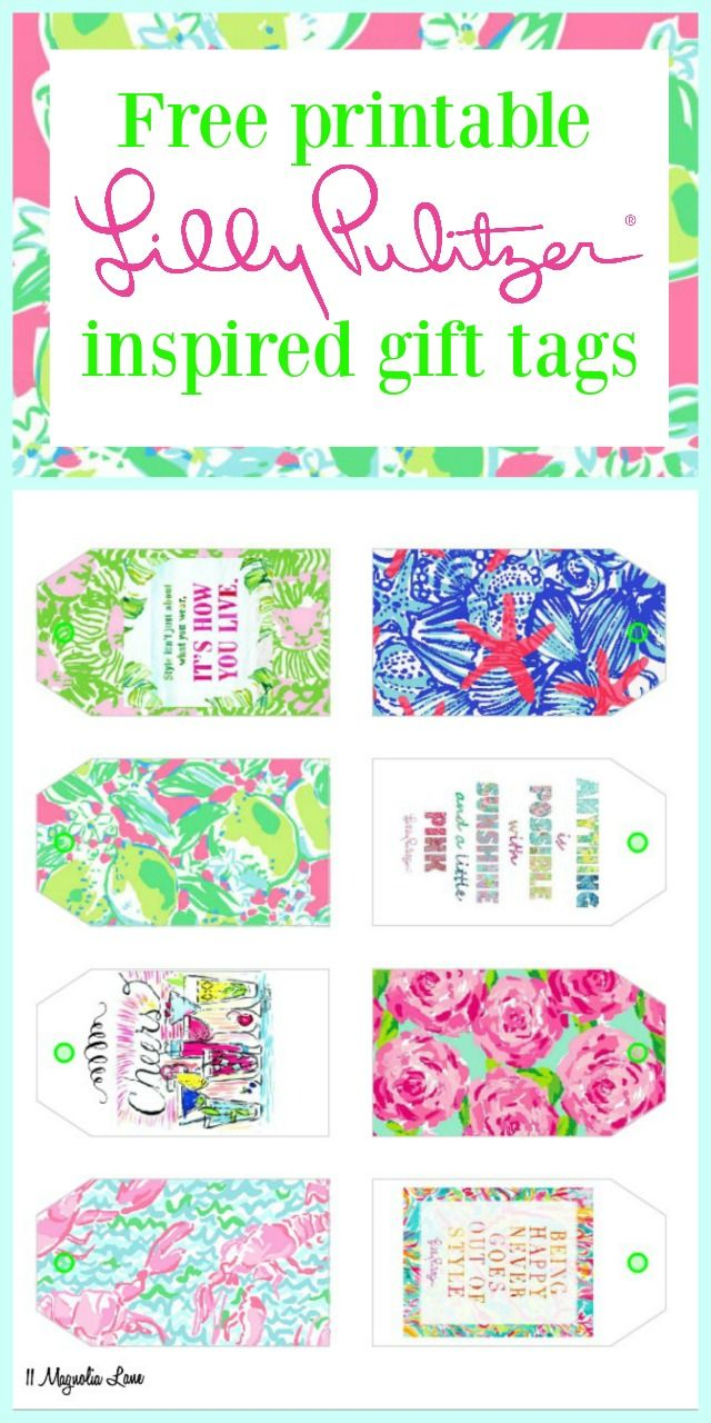 Free printable Lilly Pulitzer inspired gift tags;  great for hostess gifts, birthdays, teacher gifts, or any event that could use a touch of pink and green!  Sized perfectly for Avery 22802 gift tags, but you can also print them on white card stock and cut out.  11 Magnolia Lane