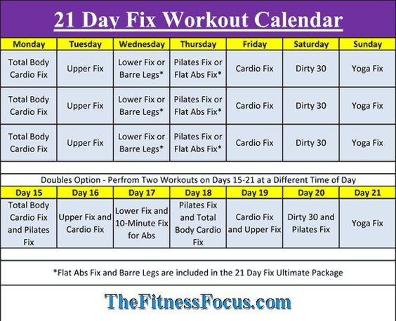 21 day fix workout sheets pdf