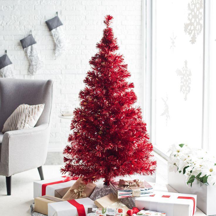 artificial christmas trees for indoor christmas decoration metallic red medium fiber optic prelit christmas tree decoration feature 56 clear bulbs and - Best Place To Buy Artificial Christmas Trees