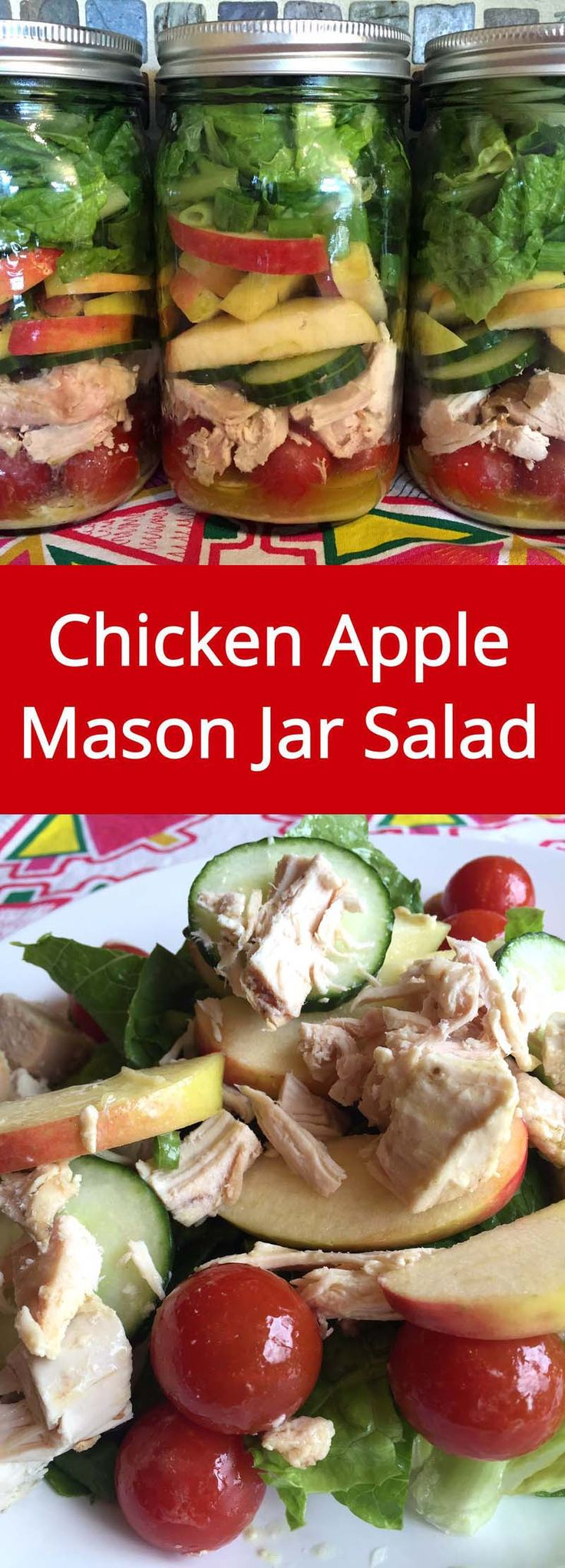 Chicken Apple Mason Jar Salad - make a week's worth of healthy lunches in 20…