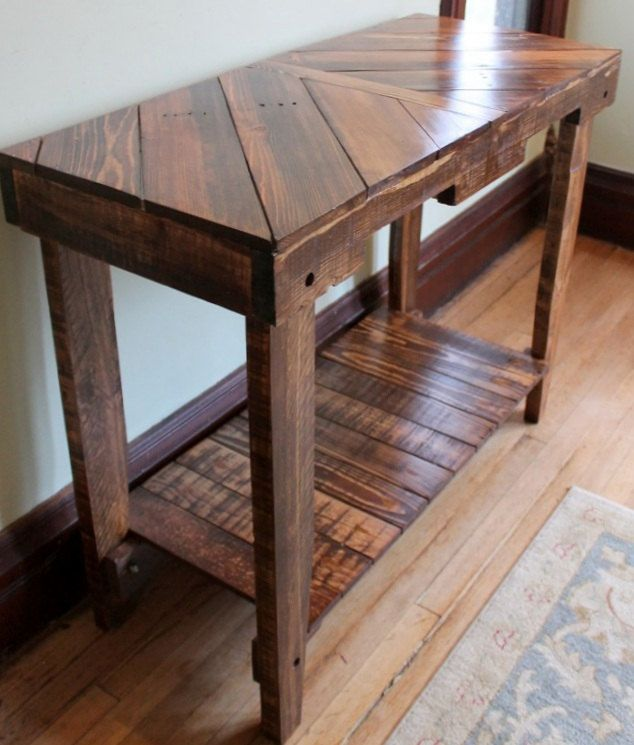 Wood Pallet Table Sofa Table Console Pallet by WickerhillWorkshop