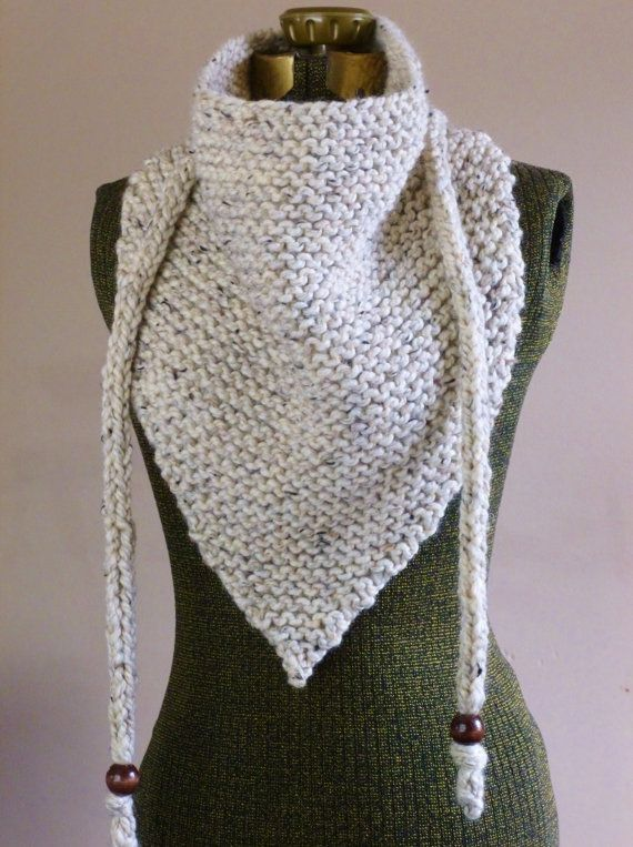 Hand Knit Triangle Scarf Neutral Oatmeal or YOUR COLOR CHOICE Bandana Scarf Triangle Cowl Triangle Shawl Cowgirl Neckwarmer Fall Fashion.