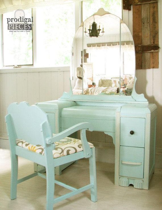 Vanity Table With Bench Part - 34: Gorgeous Art Deco Waterfall Dressing Table Vanity With Upholstered Bench ~  Retro Glam ~ Aqua Blue