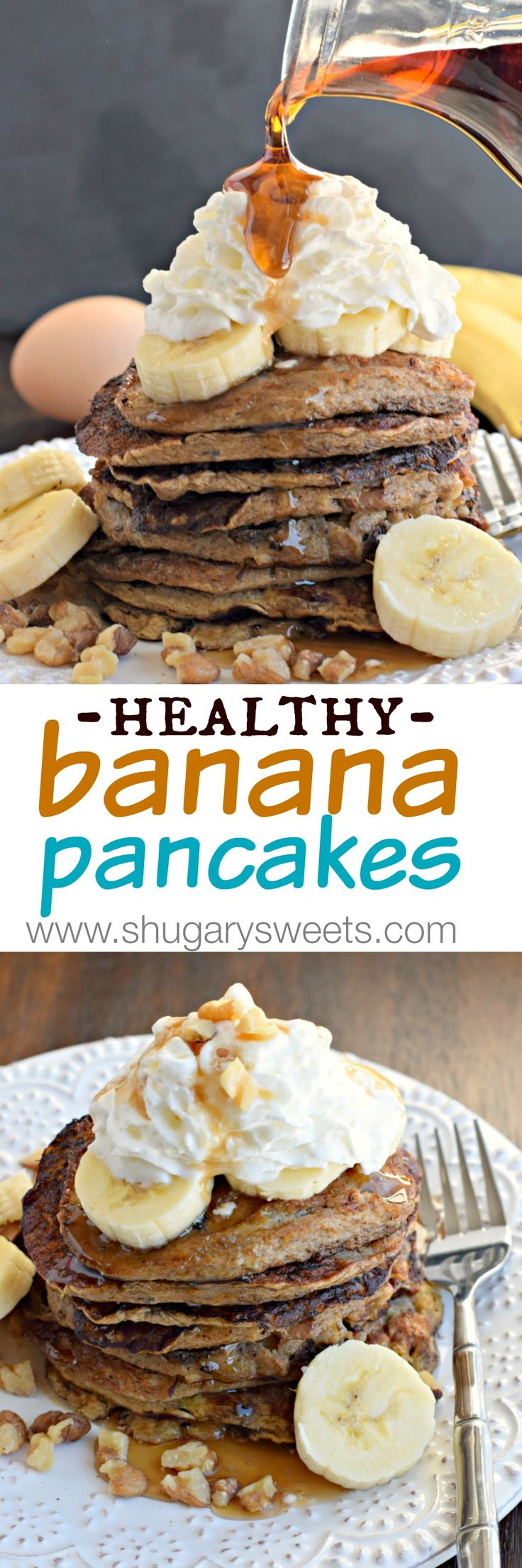 Healthy Banana Pancakes with 4 simple ingredients (no flour, no sugar)! #thinkfisher