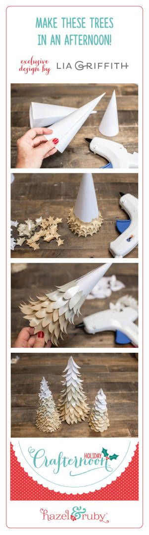 Make these beautiful paper trees designed by Lia Griffith. Everything you need is in this Holiday Crafternoon DIY kit.  You can find it at JoAnn stores or hazelandruby.com