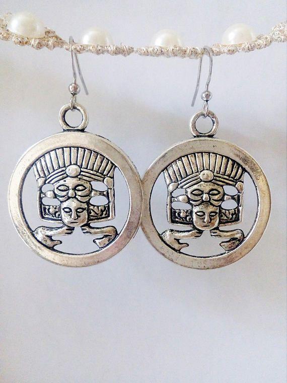Regalo para mujer pendientes de sacerdote Maya mayas