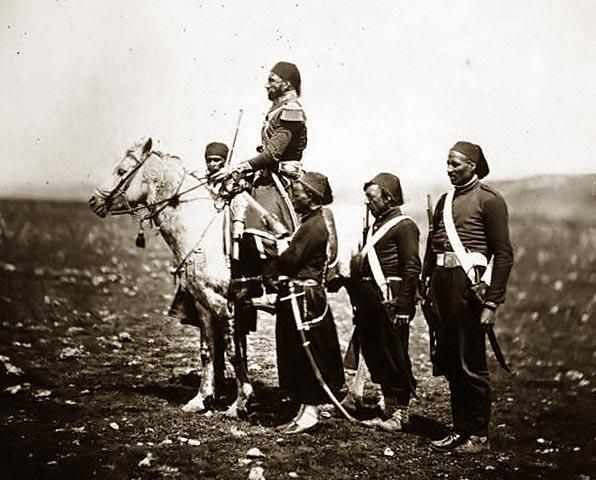Crimean War - Ismail Pacha on horseback, with Turkish officers - by Roger Fenton, 1855