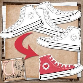 Free Printable - black & white sneakers you can color. Possible Pete the Cat activity?
